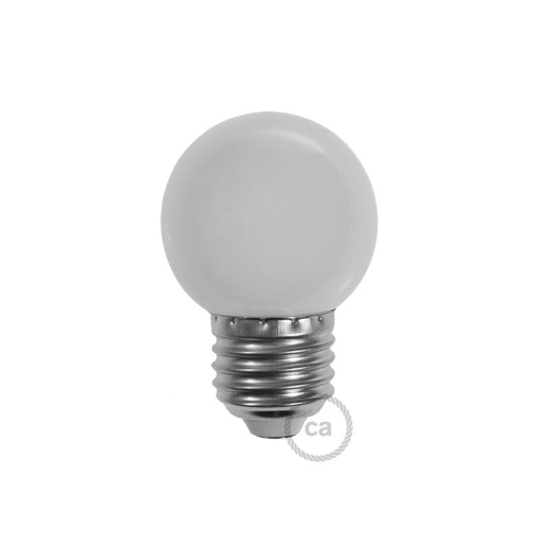 ampoule d corative g45 mini globe led 1w e27 2700k blanc. Black Bedroom Furniture Sets. Home Design Ideas