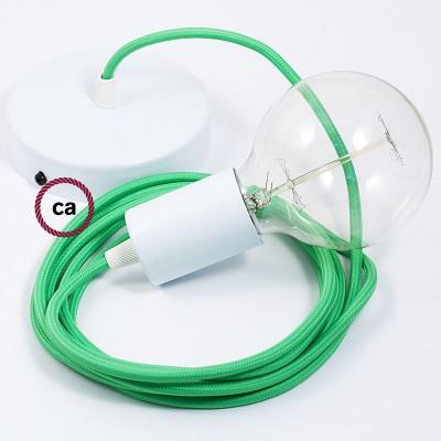 Lampe suspension câble textile Effet Soie Vert Lime RM18
