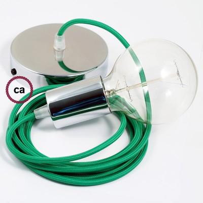 Lampe suspension câble textile Effet Soie Vert RM06