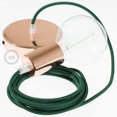 Lampe suspension câble textile Effet Soie Vert Foncé RM21
