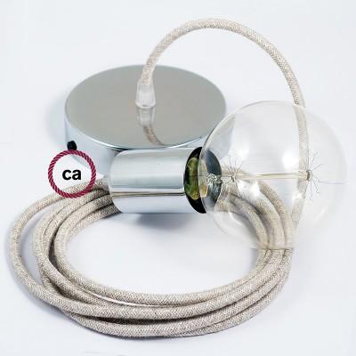 Lampe suspension câble textile Lin Naturel Neutre RN01