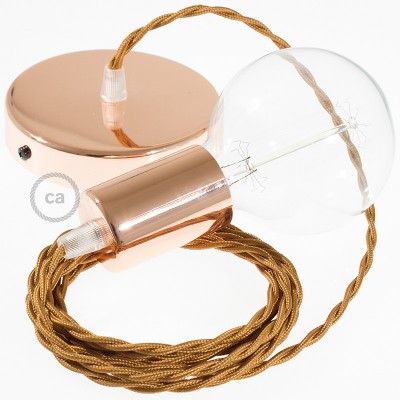 Lampe suspension câble textile Effet Soie Whiskey TM22