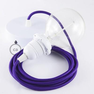 Lampe suspension pour Abat-jour câble textile Effet Soie Violet RM14