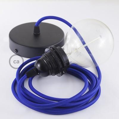 Lampe suspension pour Abat-jour câble textile Effet Soie Bleu RM12