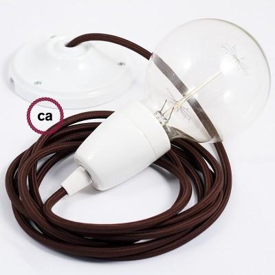 Lampe suspension en porcelaine câble textile Effet Soie Marron RM13