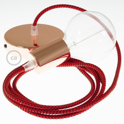 Lampe suspension câble textile 3D Red Devil RT94