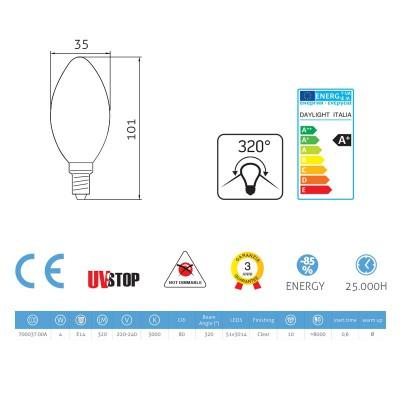 Ovalförmige LED Glühbirne 4W E14