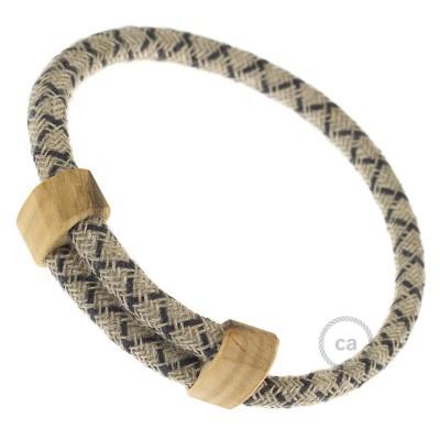 Creative-Bracelet en Coton et Lin naturel Anthracite RD64. Fermeture coulissante en bois. Made in Italy.