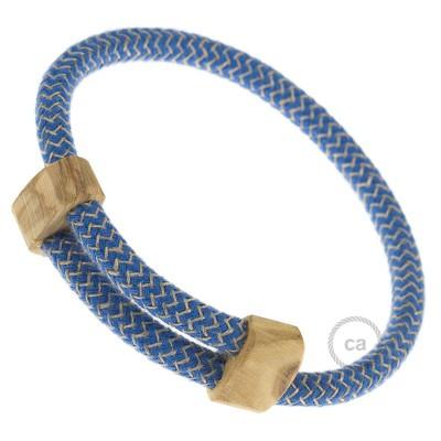 Armband aus Baumwolle und natürlichen Leinen Farbe: Zick Zack blau RD75 Verschluss: verstellbar
