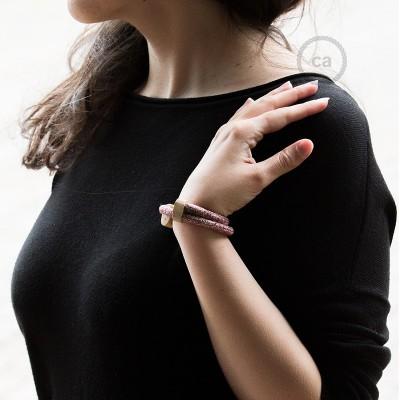 Creative-Bracelet en Coton et Lin naturel Tweed Bordeaux RS83. Fermeture coulissante en bois. Made in Italy.