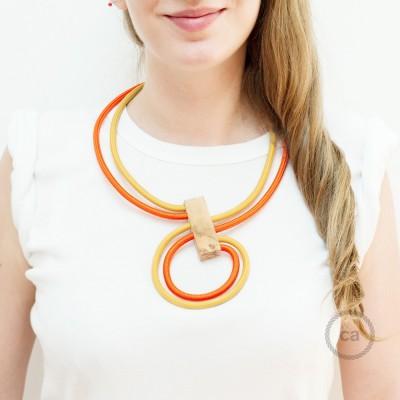 Collier Infinity réglable bicolore Moutarde RM25 et Orange RM15.