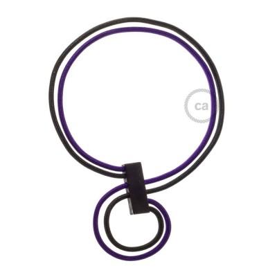 Collier Infinity réglable bicolore Violet RM14 et Noir RM04.