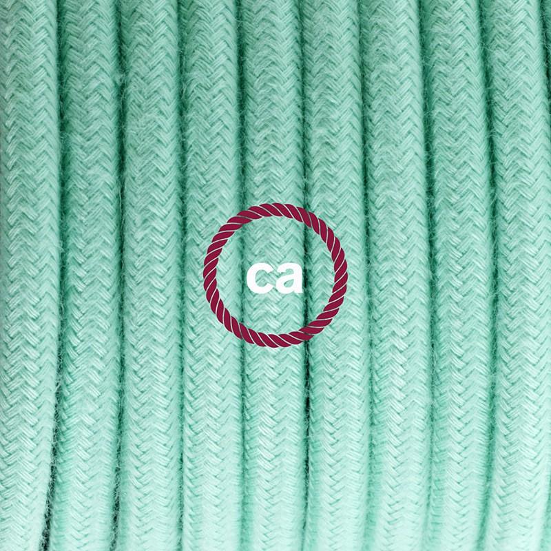 Zuleitung für Tischleuchten RC34 Minze Baumwolle 1,80 m. Wählen Sie aus drei Farben bei Schalter und Stecke.