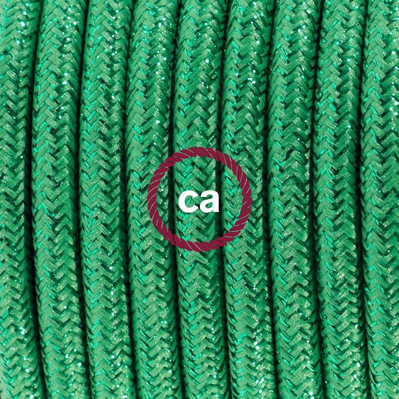 Zuleitung für Tischleuchten RL06 Grün Glitter Seideneffekt 1,80 m. Wählen Sie aus drei Farben bei Schalter und Stecke.