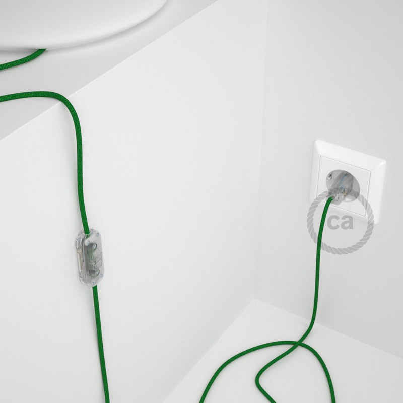 Cordon pour lampe, câble RL06 Effet Soie Paillettes Vert 1,80 m. Choisissez la couleur de la fiche et de l'interrupteur!