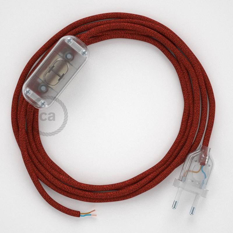 Cablaggio per lampada, cavo RL09 Effetto Seta Glitterato Rosso 1,80 m. Scegli il colore dell'interruttore e della spina.