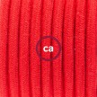 Cablaggio per lampada, cavo RC35 Cotone Rosso Fuoco 1,80 m. Scegli il colore dell'interruttore e della spina.