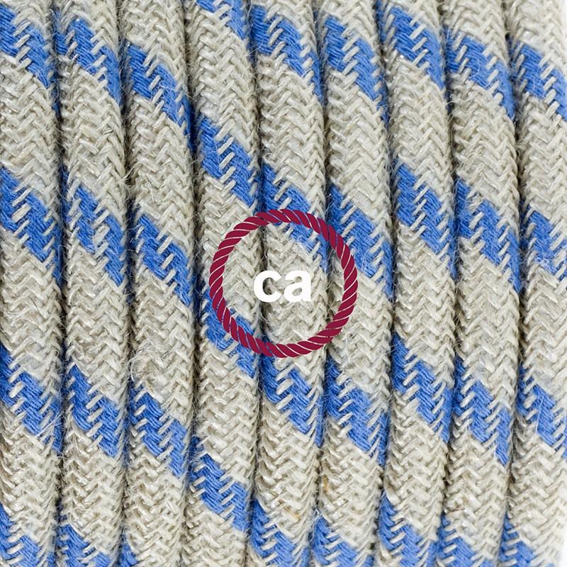 Zuleitung für Tischleuchten RD55 Streifen Blau 1,80 m. Wählen Sie aus drei Farben bei Schalter und Stecke.