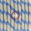 Cablaggio per lampada, cavo RD55 Stripes Blu Steward 1,80 m. Scegli il colore dell'interruttore e della spina.