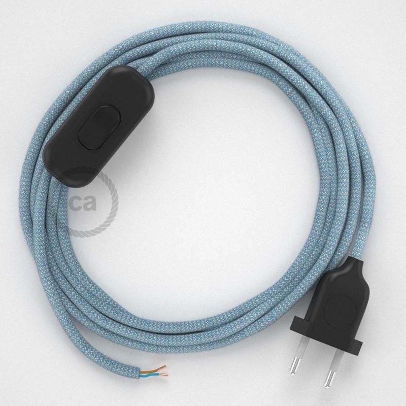 Cordon pour lampe, câble RD75 ZigZag Bleu Steward 1,80 m. Choisissez la couleur de la fiche et de l'interrupteur!