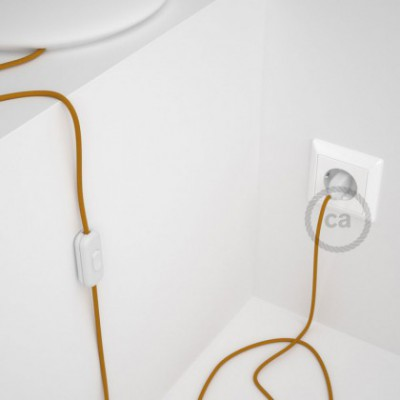 Cordon pour lampe, câble RM25 Effet Soie Moutarde 1,80 m. Choisissez la couleur de la fiche et de l'interrupteur!