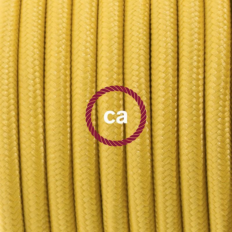 Cablaggio per lampada, cavo RM25 Effetto Seta Senape 1,80 m. Scegli il colore dell'interruttore e della spina.