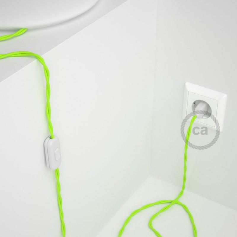 Cordon pour lampe, câble TF10 Effet Soie Jaune Fluo 1,80 m. Choisissez la couleur de la fiche et de l'interrupteur!