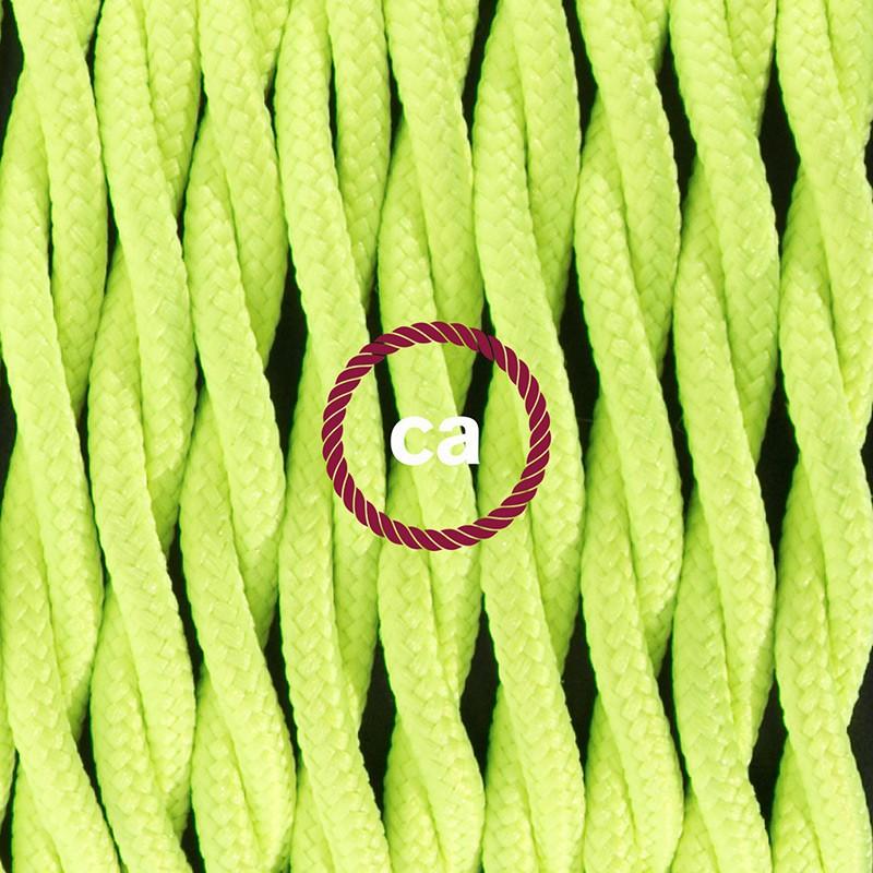Cablaggio per lampada, cavo TF10 Effetto Seta Giallo Fluo 1,80 m. Scegli il colore dell'interruttore e della spina.