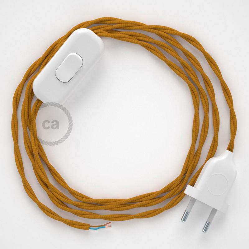 Cablaggio per lampada, cavo TM25 Effetto Seta Senape 1,80 m. Scegli il colore dell'interruttore e della spina.