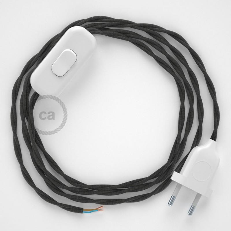 Cordon pour lampe, câble TM26 Effet Soie Gris Foncé 1,80 m. Choisissez la couleur de la fiche et de l'interrupteur!