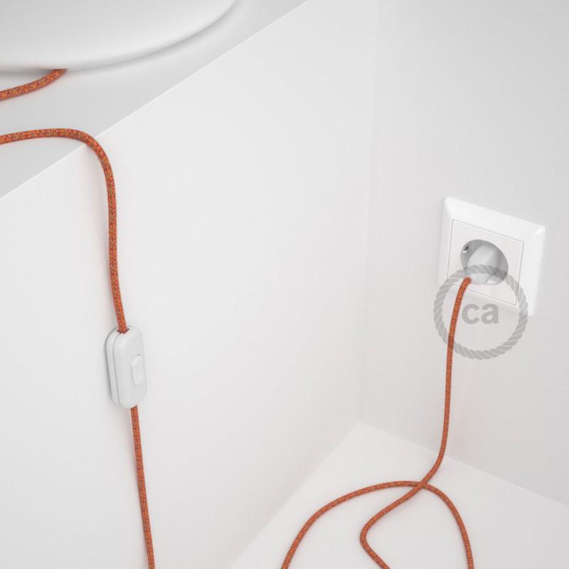 Cordon pour lampe, câble RX07 Coton Indian Summer 1,80 m. Choisissez la couleur de la fiche et de l'interrupteur!