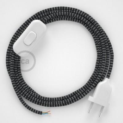 Cordon pour lampe, câble RT41 Effet Soie Étoiles 1,80 m. Choisissez la couleur de la fiche et de l'interrupteur!