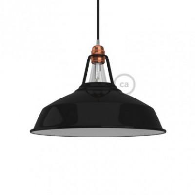 Industrie Lampenschirm Harbour E27 Metall lackschwarz mit weißer Innenseite. Durchmesser 38 cm.