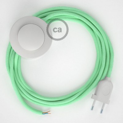 Cordon pour lampadaire, câble RC34 Coton Lait Menthe 3 m. Choisissez la couleur de la fiche et de l'interrupteur!