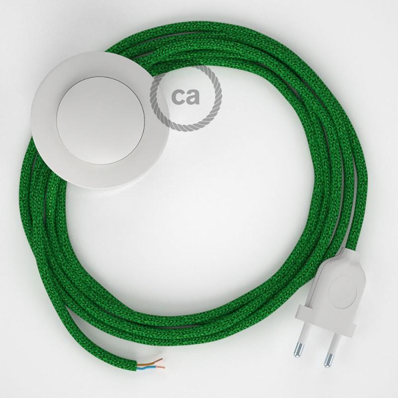 Cablaggio per piantana, cavo RL06 Effetto Seta Glitterato Verde 3 m. Scegli il colore dell'interruttore e della spina.