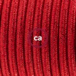 Cordon pour lampadaire, câble RL09 Effet Soie Paillettes Rouge 3 m. Choisissez la couleur de la fiche et de l'interrupteur!