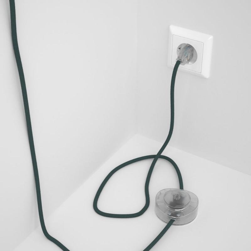 Cordon pour lampadaire, câble RC30 Coton Gris Pierre 3 m. Choisissez la couleur de la fiche et de l'interrupteur!