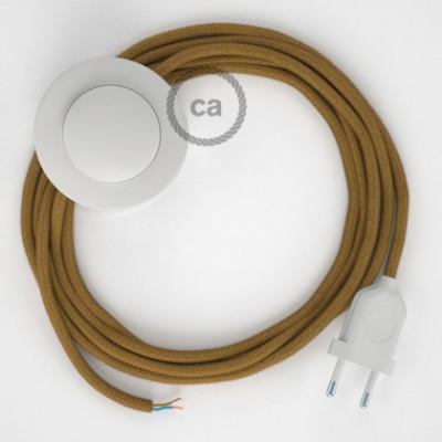 Cablaggio per piantana, cavo RC31 Cotone Miele Dorato 3 m. Scegli il colore dell'interruttore e della spina.