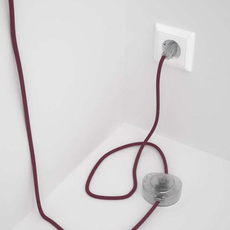 Cordon pour lampadaire, câble RC32 Coton Marc De Raisin 3 m. Choisissez la couleur de la fiche et de l'interrupteur!