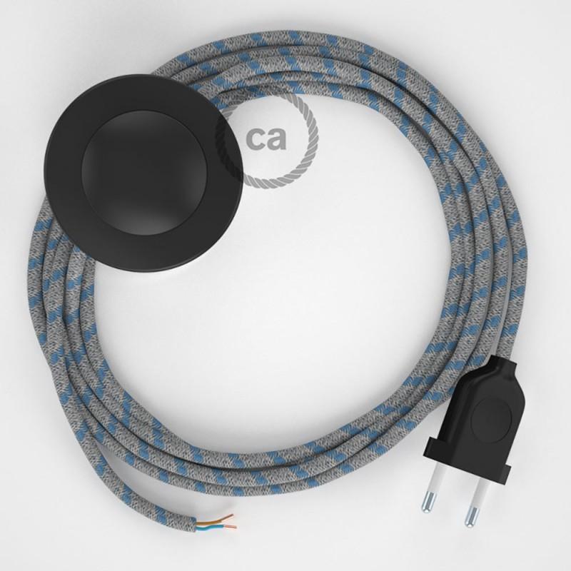 Cablaggio per piantana, cavo RD55 Cotone e Lino Stripes Blu Steward 3 m. Scegli il colore dell'interruttore e della spina.