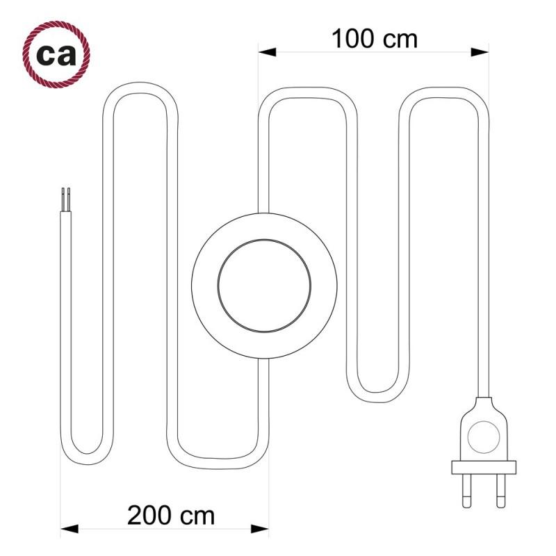 Cordon pour lampadaire, câble RD55 Stripes Bleu Steward 3 m. Choisissez la couleur de la fiche et de l'interrupteur!