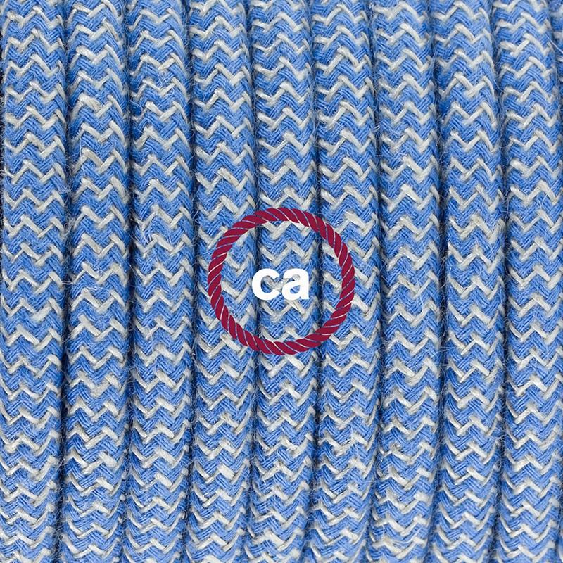 Cablaggio per piantana, cavo RD75 Cotone e Lino ZigZag Blu Steward 3 m. Scegli il colore dell'interruttore e della spina.