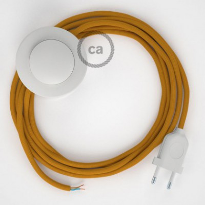 Cordon pour lampadaire, câble RM25 Effet Soie Moutarde 3 m. Choisissez la couleur de la fiche et de l'interrupteur!