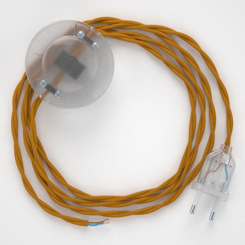 Cablaggio per piantana, cavo TM25 Effetto Seta Senape 3 m. Scegli il colore dell'interruttore e della spina.