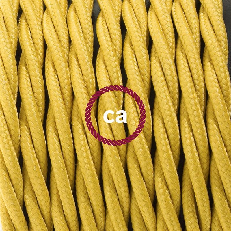 Cordon pour lampadaire, câble TM25 Effet Soie Moutarde 3 m. Choisissez la couleur de la fiche et de l'interrupteur!