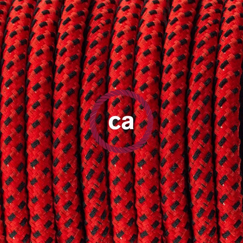 Cablaggio per piantana, cavo RT94 Effetto Seta Red Devil 3 m. Scegli il colore dell'interruttore e della spina.
