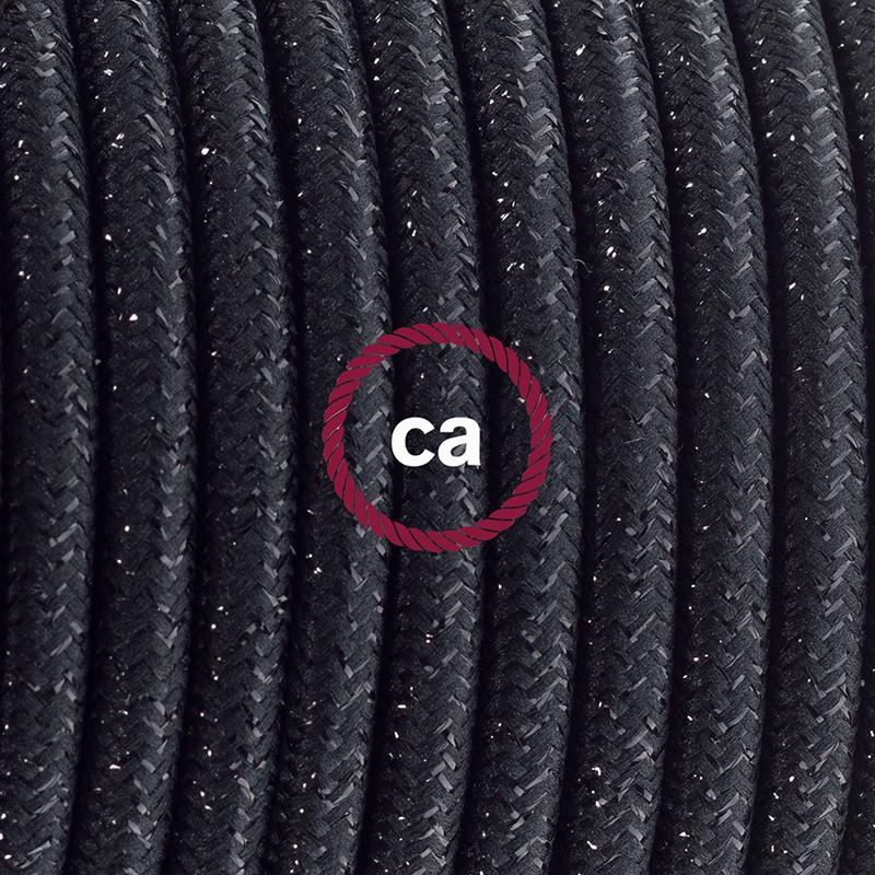 Cablaggio per piantana, cavo RL04 Effetto Seta Glitterato Nero 3 m. Scegli il colore dell'interruttore e della spina.