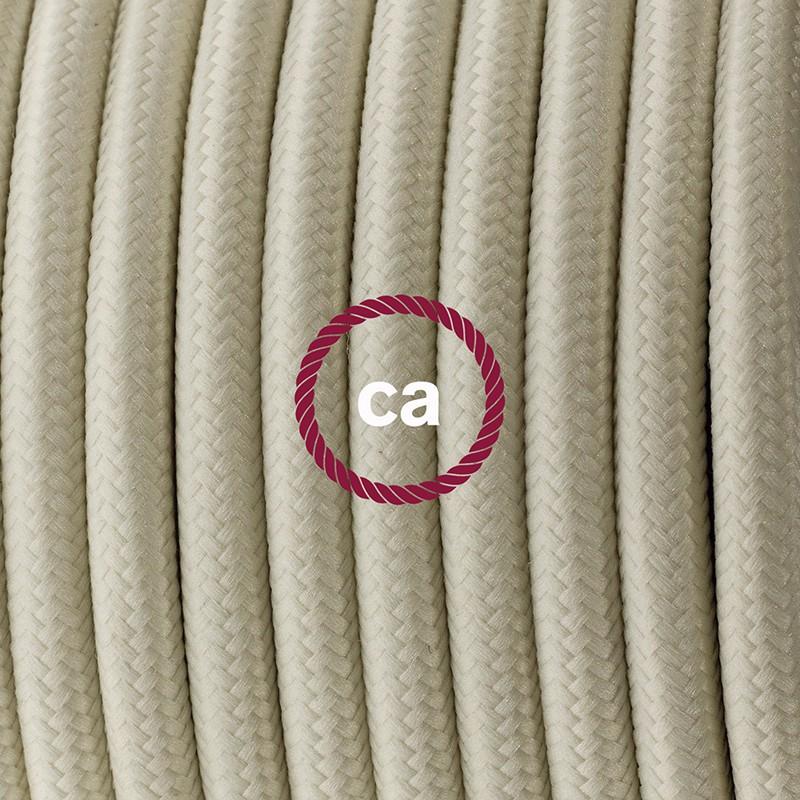 Cablaggio per piantana, cavo RM00 Effetto Seta Avorio 3 m. Scegli il colore dell'interruttore e della spina.