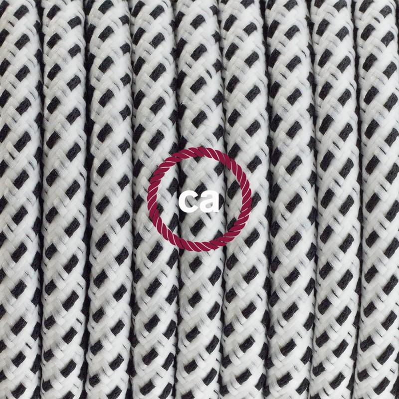 Cablaggio per piantana, cavo RT14 Effetto Seta Stracciatella 3 m. Scegli il colore dell'interruttore e della spina.