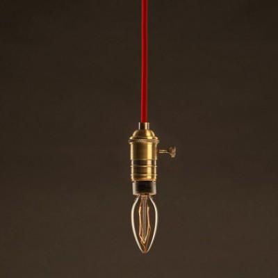 Lampadina Vintage Dorata Candela C35 Filamento di Carbonio ZigZag 25W E14 Dimmerabile 2000K